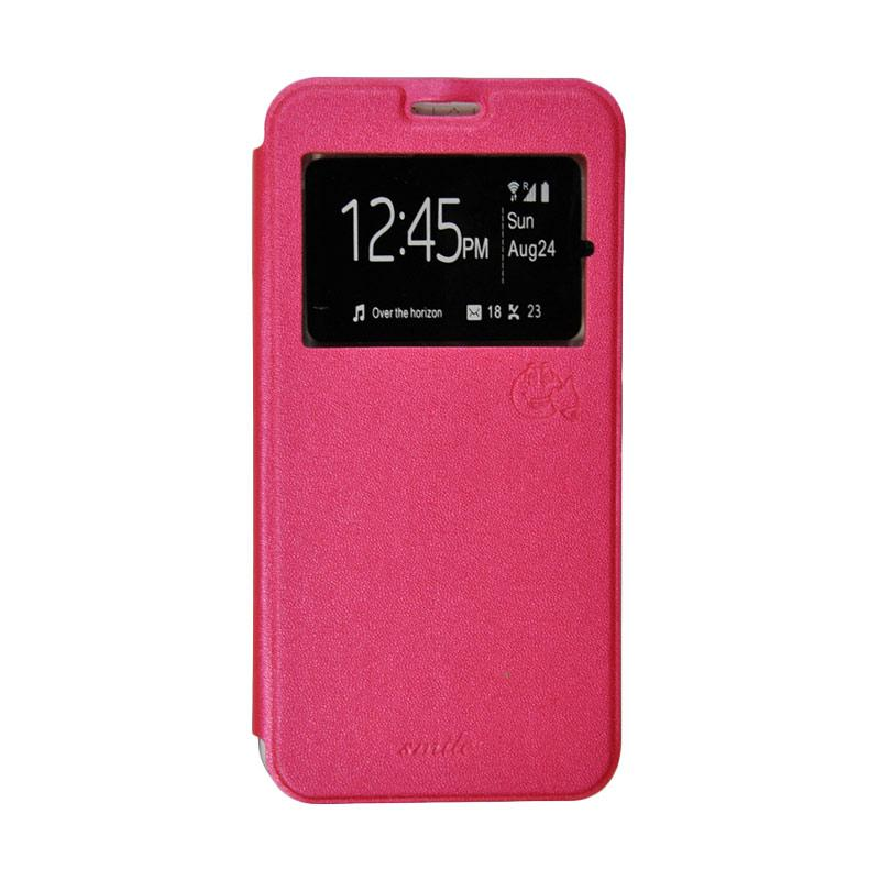 Smile Flip Cover Casing for Oppo R1X - Hot Pink