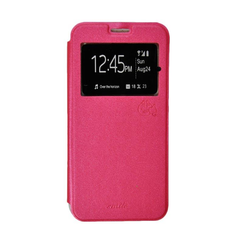 Smile Flip Cover Casing for Oppo R7S - Hot Pink