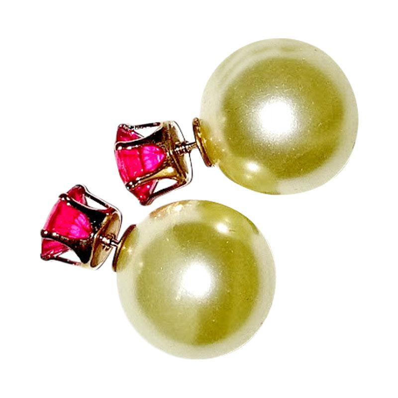 ... Anneui EE0056 Anting Double Pearl Candy Stud Pink