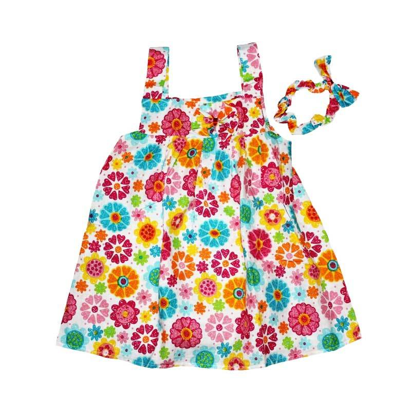 Pesona Colorfull Summer Flower Dress with Headband