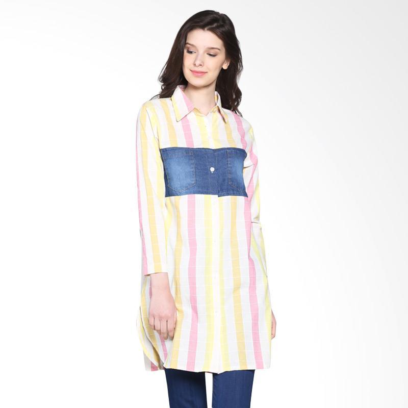 Carte Denim Block Stripes Shirt - Yellow Pink