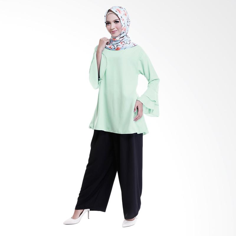 Cotton Bee Quincy Set Outfit - Pale Green (1 Set Hijab + Blouse + Culotte)