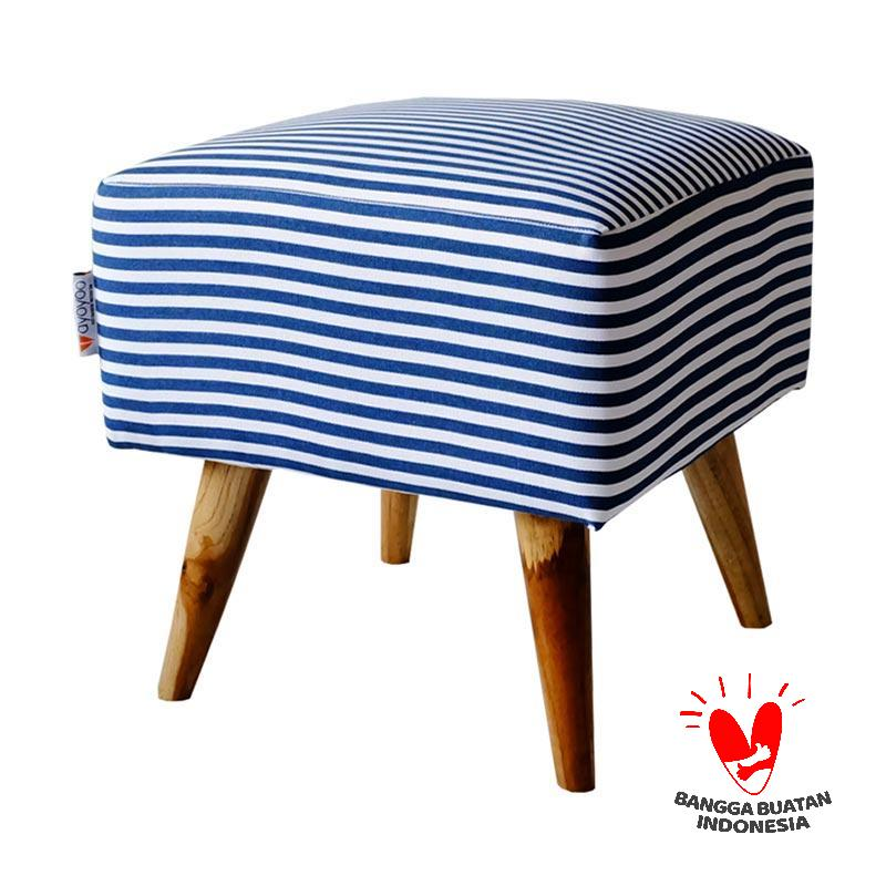 Ayoyoo Navy Big Strippy Square Stool