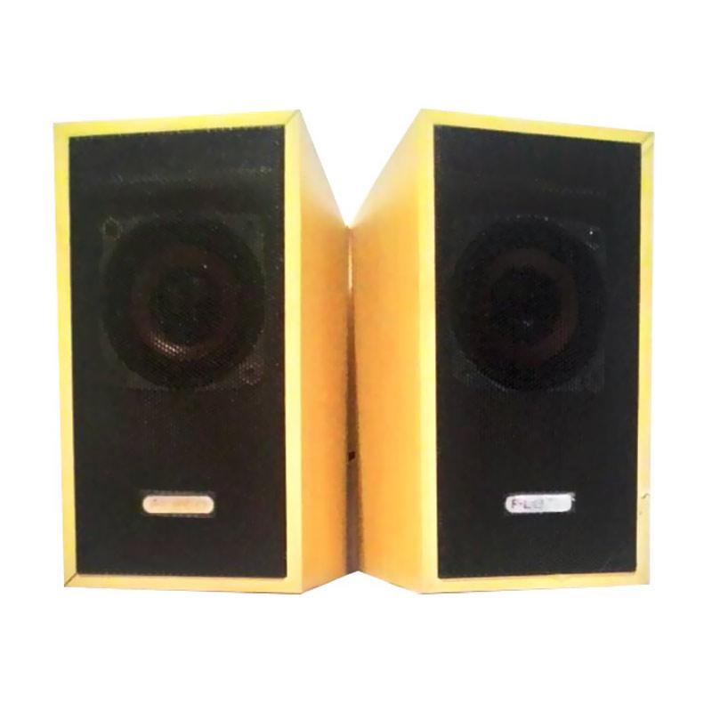 Fleco F 016 PM Wooden Mini USB Speaker - Kuning Kayu