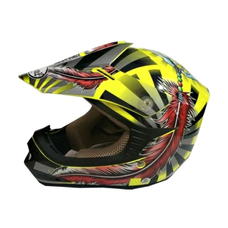 Snail Helmet Motif Indian MX306 Youth Helm Motocross Anak - Kuning Merah