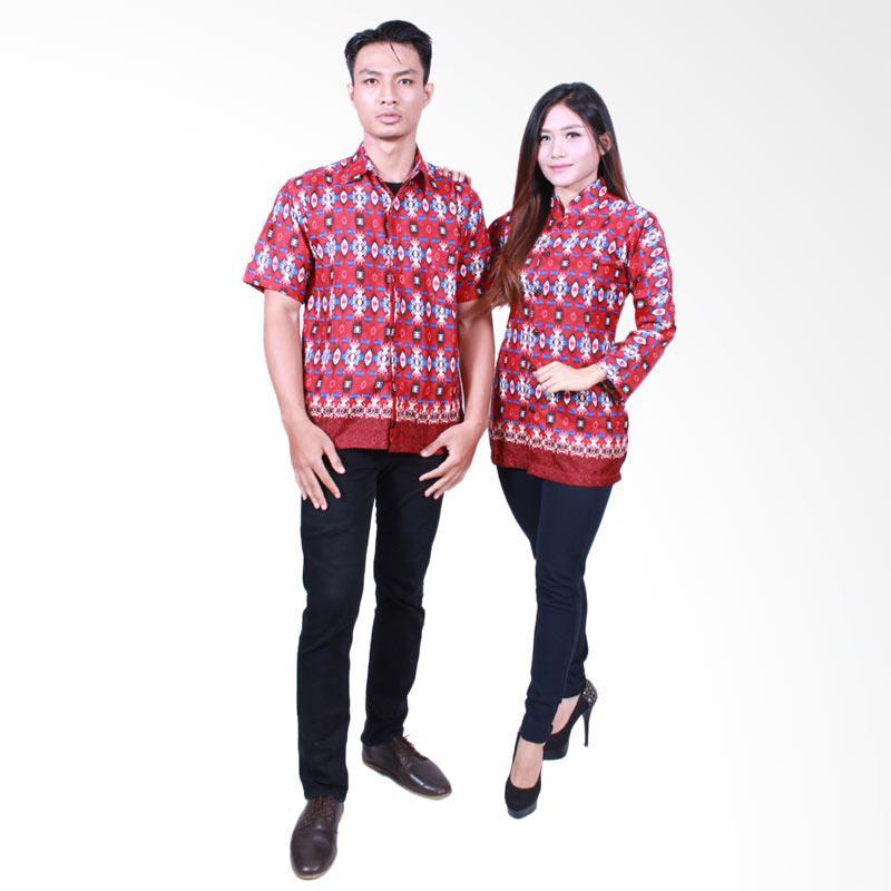 Batik Putri Ayu Solo SRB500 Batik Sarimbit Atasan Couple - Merah