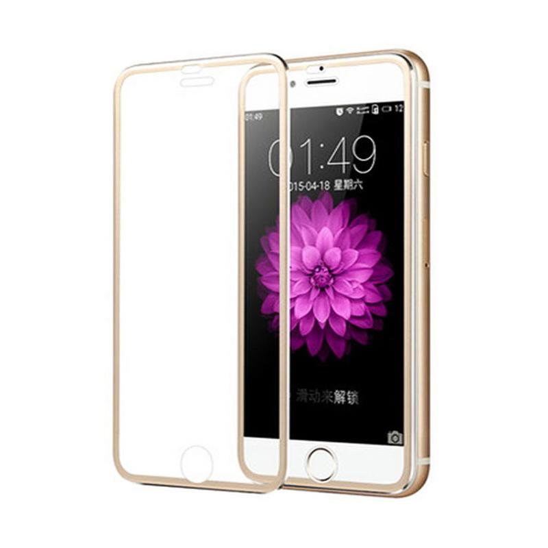 QCF Tempered Glass Ring Besi Aluminium Screen Protector for Apple iPhone 6 / iPhone6 / Iphone 6G / 6S 4.7 Inch Pelindung Layar - Gold