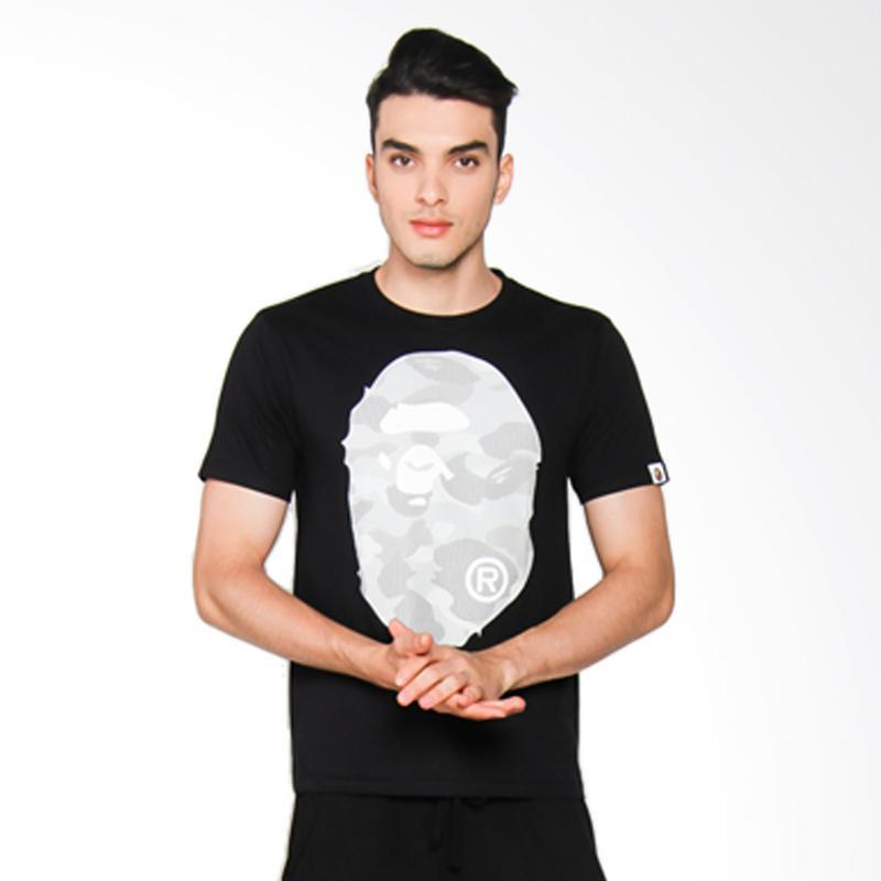 A Bathing Ape Dot Camo Big Ape Head T-Shirt Pria - Black x Grey