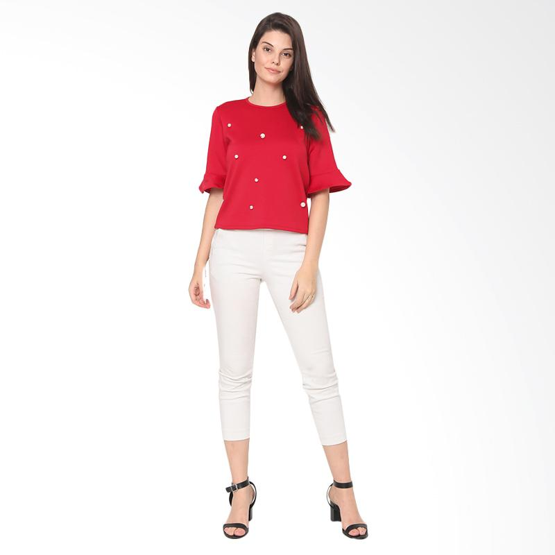 Heart and Feel Bell Sleeve Pearls Embellished Top