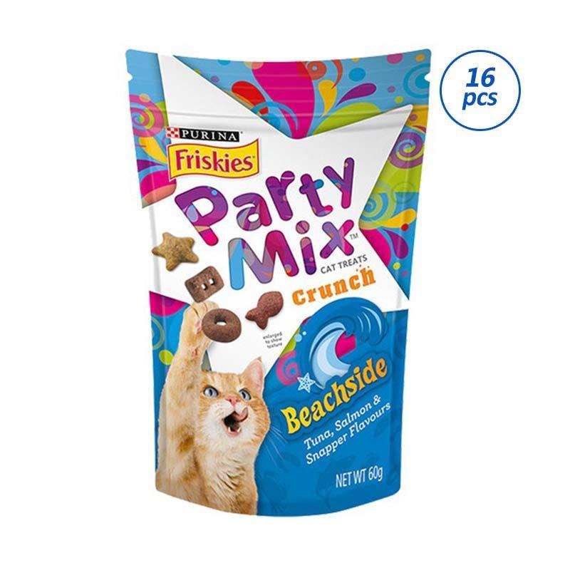 Friskies Party Mix Cat Treat Crunch Beachside Makanan Kucing Kering 60 g 16 Pcs 1 Karton