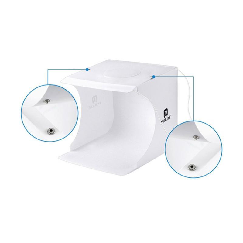 PULUZ Mini Folding Studio Diffuse Soft Box With LED Light Photography Background Photo Studio Box 20 x 20 cm
