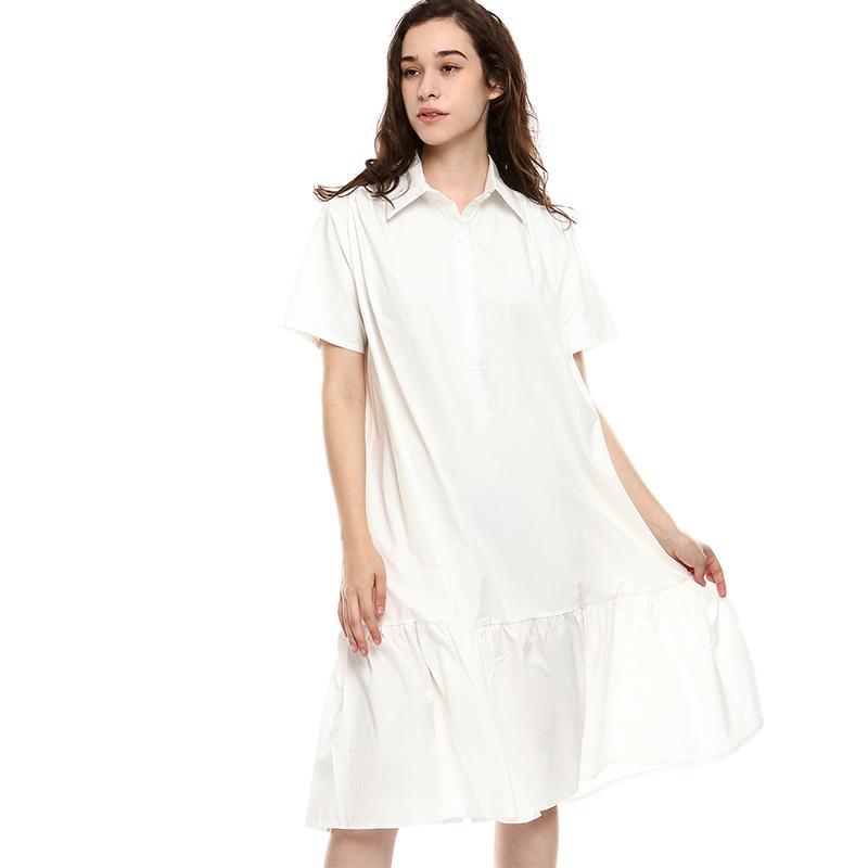 Midi Peplum Dress Wanita White