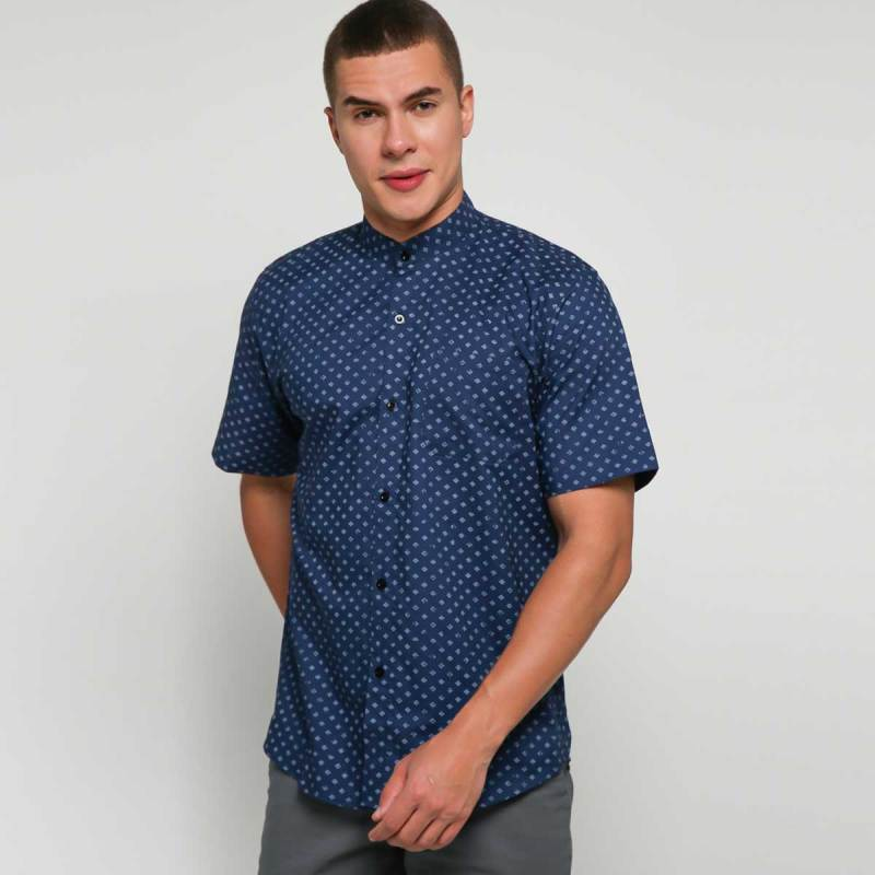 9 to 12 Deryn Mandarin Shirt Kemeja Kerah Koko Pria - Navy