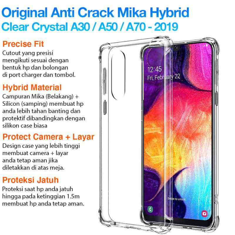 Original Anti Crack CLEAR Case Samsung Galaxy A30 A50 A70 Drop Protection Casing Cover Softcase