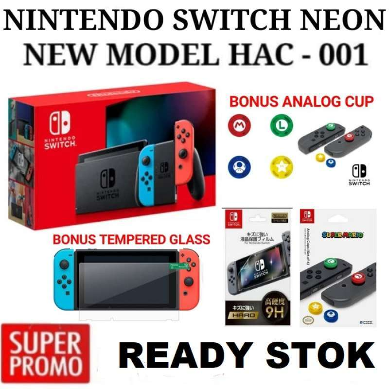 Nintendo Switch HAC 001 01 New Model Neon Game Console Bonus Analoq Cup Tempered Glass