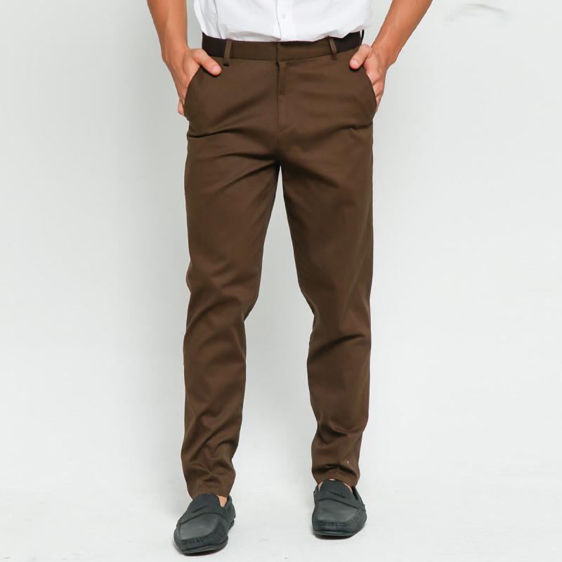 Gerrald Ryan Celana Panjang Formal Pinggang Karet Pants Coklat