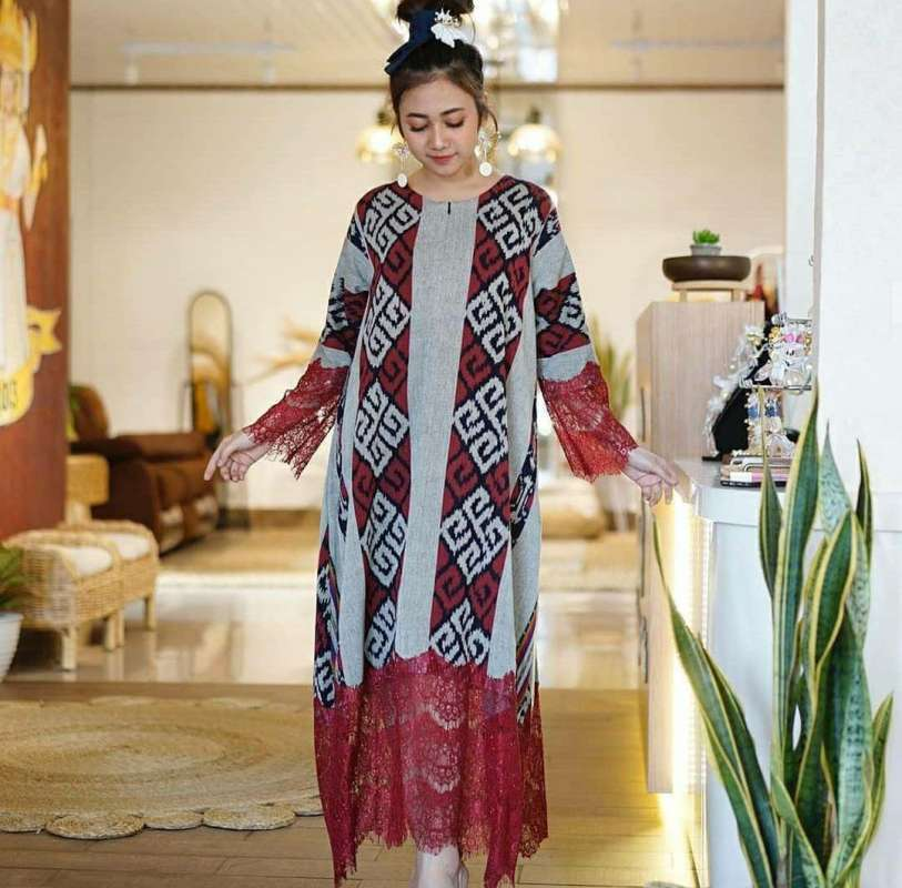 Jual Dress Tenun Ethnic Kain Troso Jepara Kombinasi Brukat Renda Online Maret 2021 Blibli