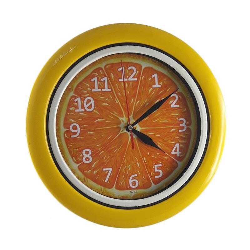 TJ BA 17 Motif Buah Jeruk Ring Jam Dinding - Yellow [25 cm]