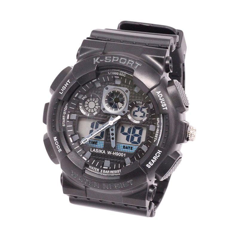 Lasika Digital Analog W-H 9001 Jam Tangan Unisex - Black