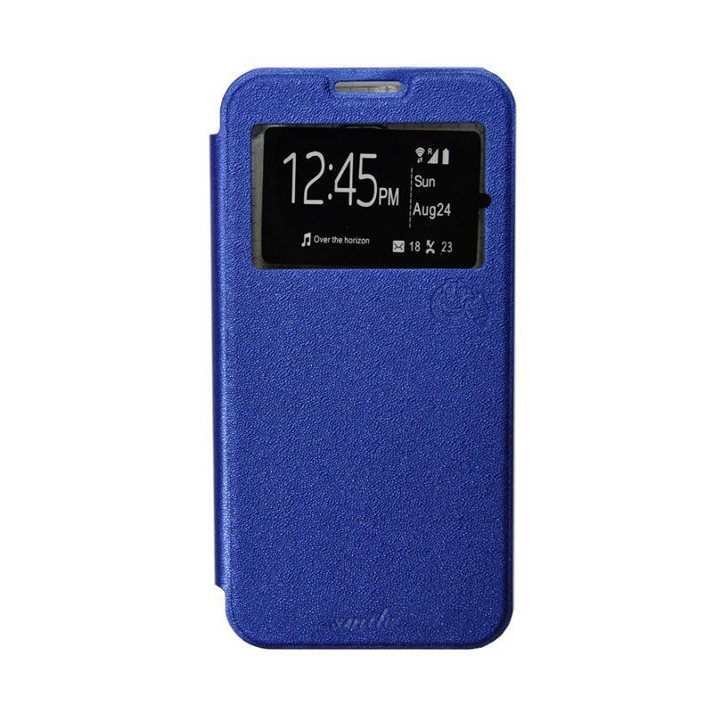 Smile Flip Cover Casing for Asus Zenfone C or 4C - Biru Tua