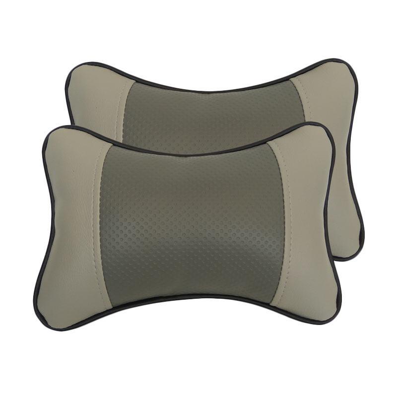GL Motif Bintik Kulit Sintetik Bantal Mobil - Grey
