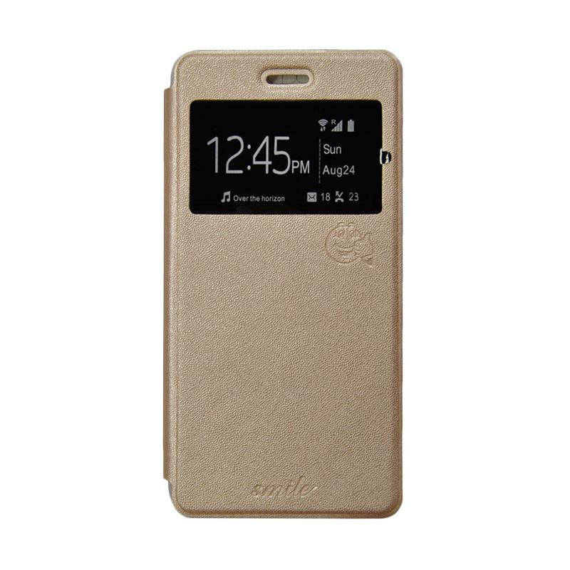 SMILE Flip Cover Casing for Asus Zenfone 4 - Gold