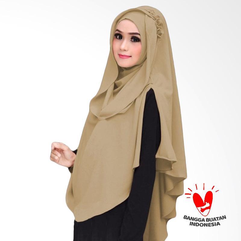 Milyarda Hijab Khimar Al Zaina Kerudung Jilbab Instan Syar'i - Coklat Muda