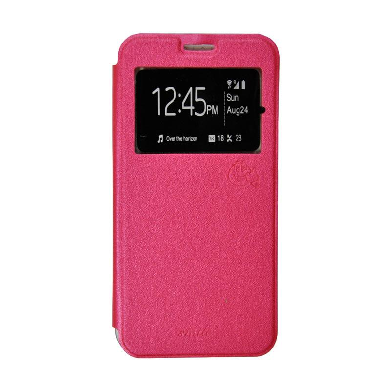 Smile Flip Cover Casing for Oppo F1S A59 - Hot Pink