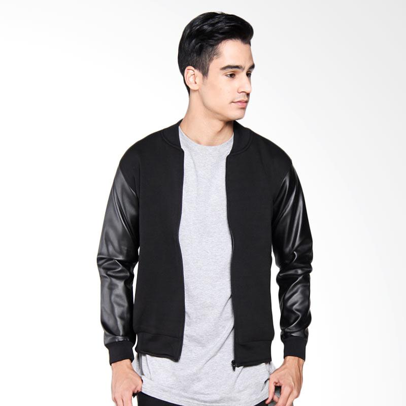 Bafash Casual Combine Leather Fleece Jaket Pria - Black