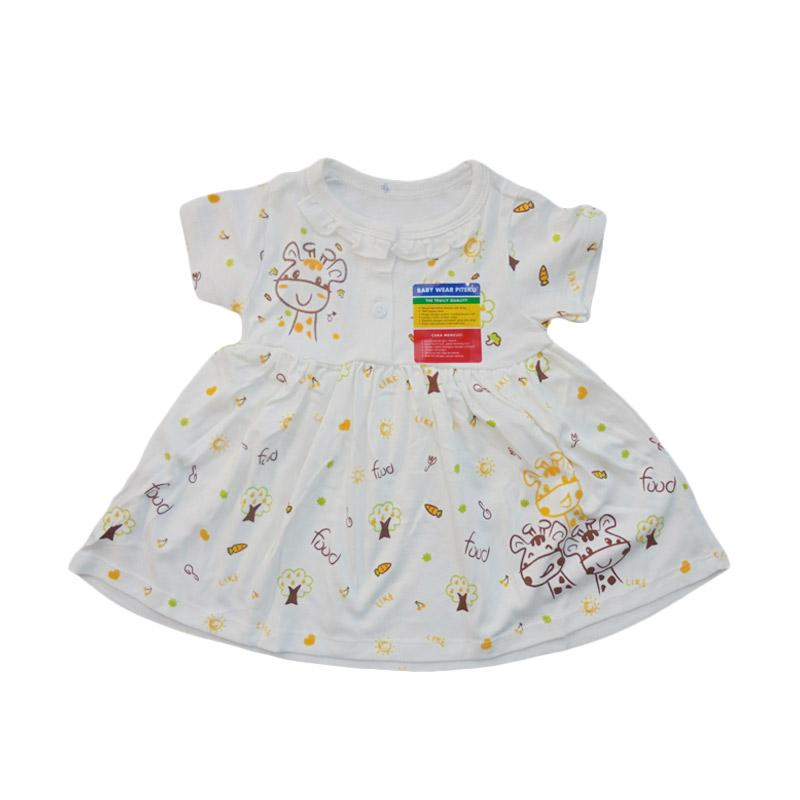 Piteku Giraffe & Food Dress Anak - White Yellow