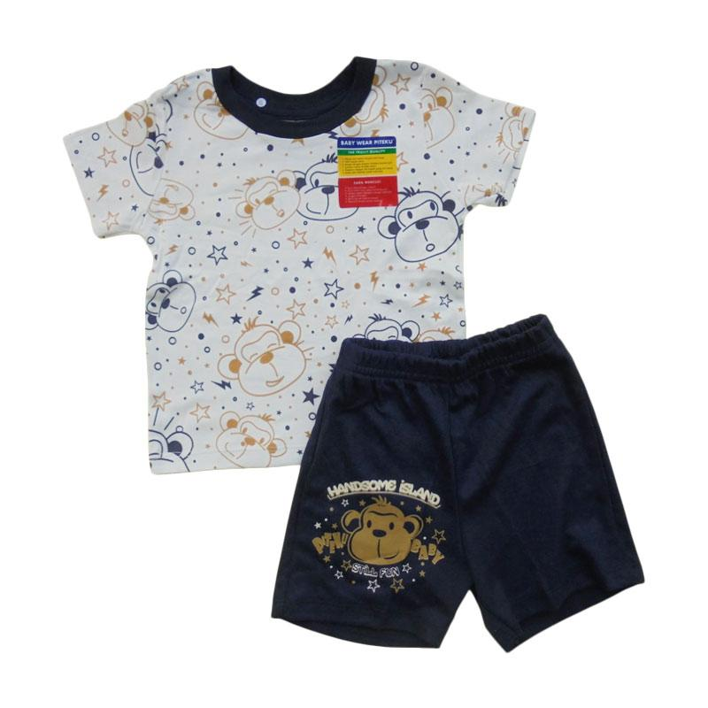 Piteku T-Shirt Lengan Pendek Setelan Anak Laki-laki - Blue White