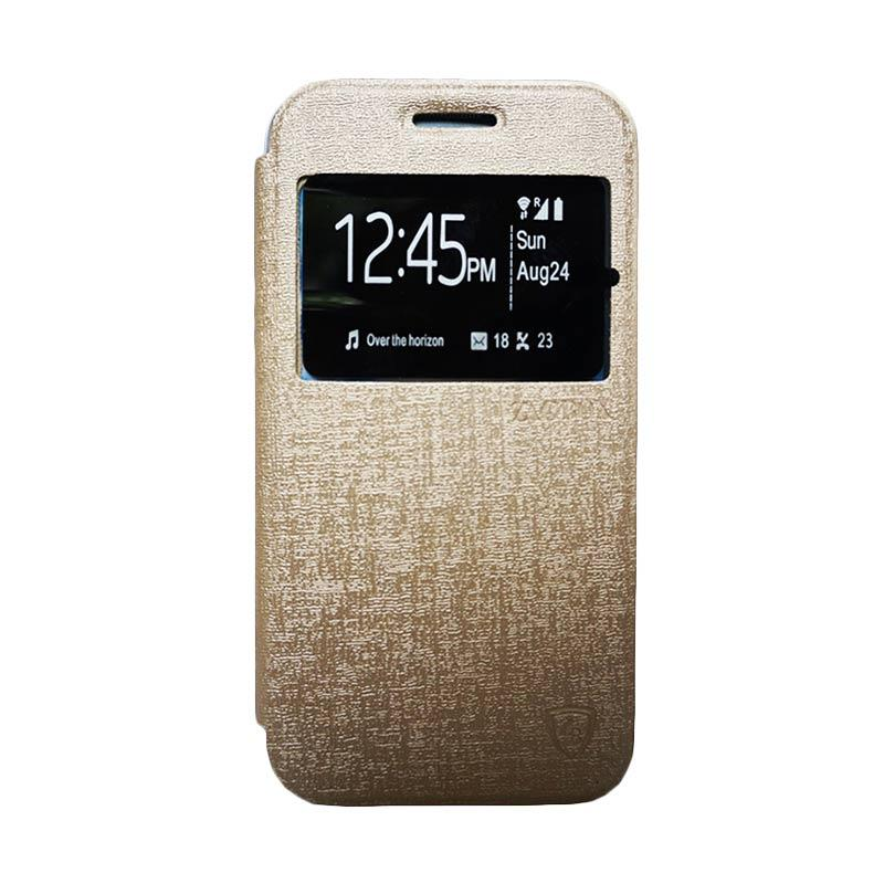 ZAGBOX Flip Cover Casing for Samsung Galaxy S7 Edge - Gold