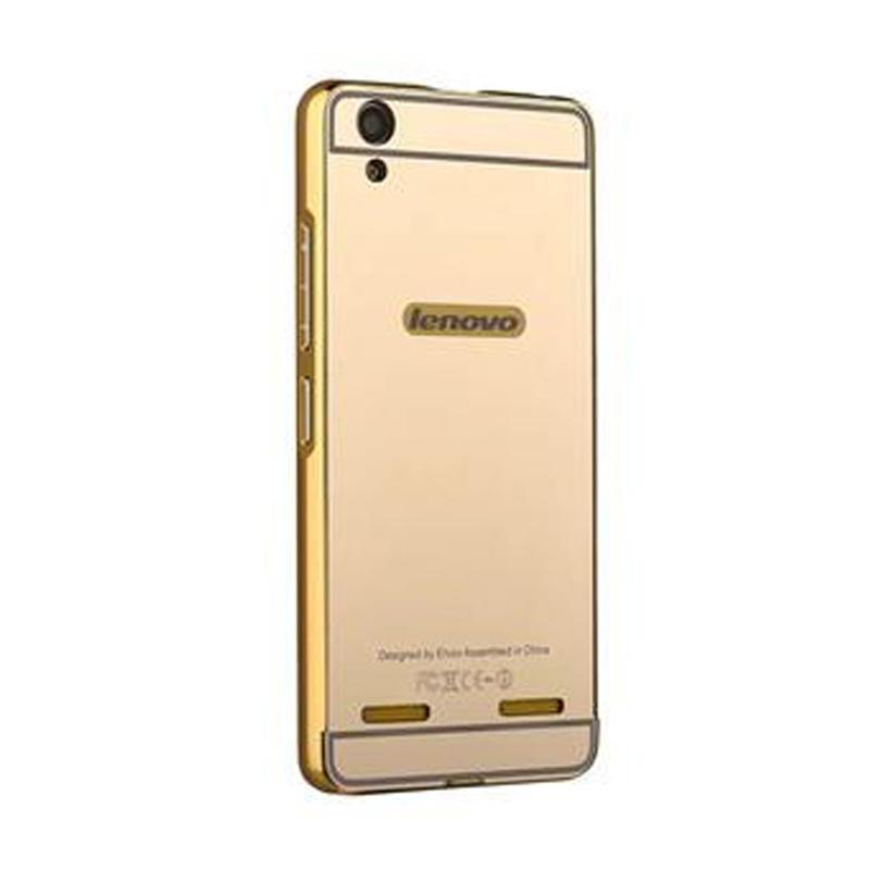 Bumper Case Mirror Sliding Casing for Lenovo A1000 - Gold