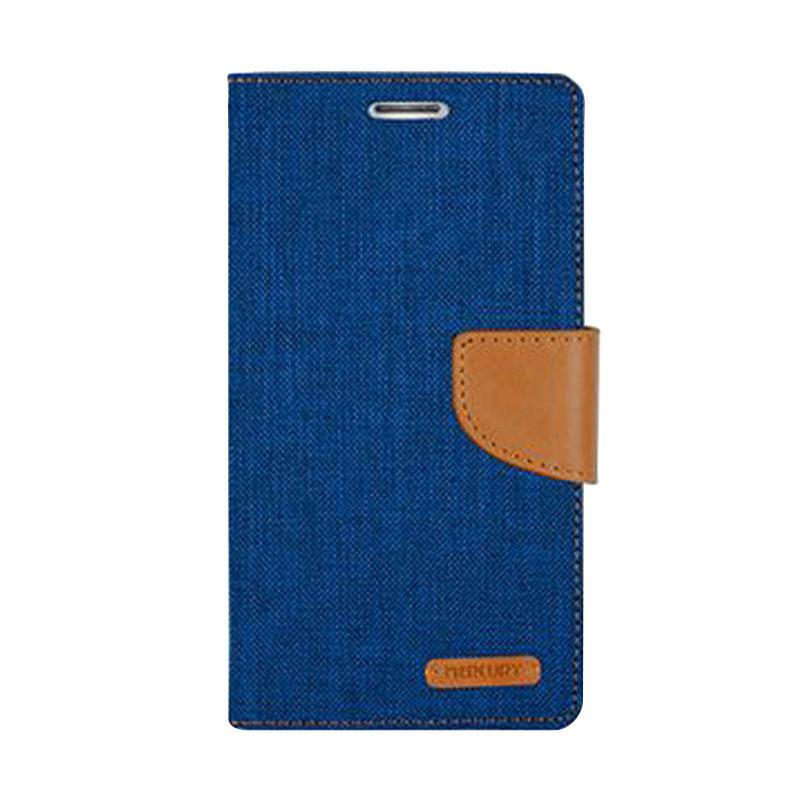 Mercury Canvas Diary Flip Cover Casing for Sony Xperia M - Biru