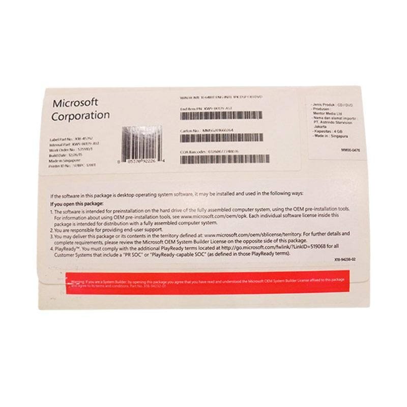 Microsoft Windows 10 Home Software [64 Bit]