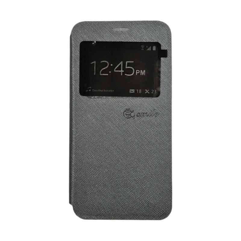 SMILE Standing Flip Cover Casing Oppo F1s - Grey