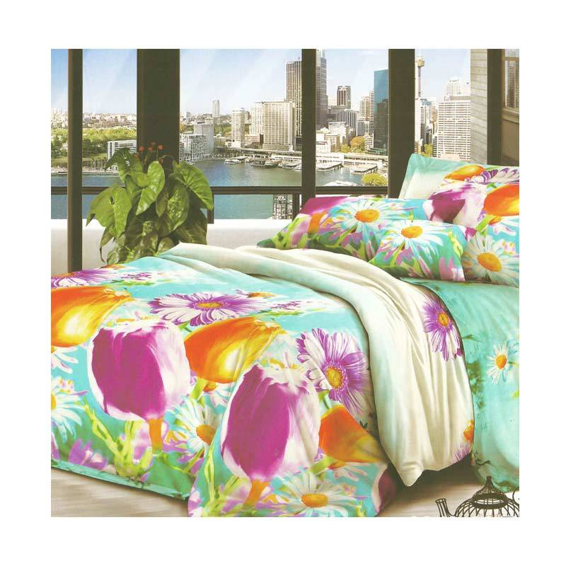 Jual Hanna 205010 Microtex Blue Colorfull Set Sprei [180 x 200 cm] Online -
