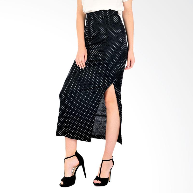 Bolzano Dot Women's Long Skirt - Black