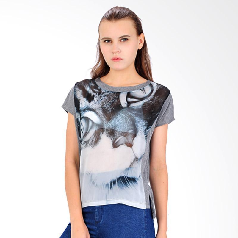 SJO & SIMPAPLY Half Print Women's T-Shirts - Charcoal