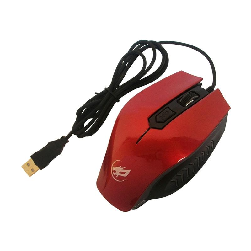 Warwolf M22 4D USB Gaming Mouse with LED - Merah
