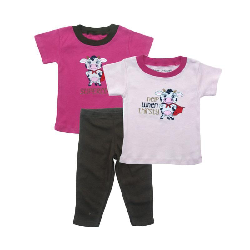 Bearhug 3 Pieces Sapi Set Bayi Perempuan - Pink [12-24 month]
