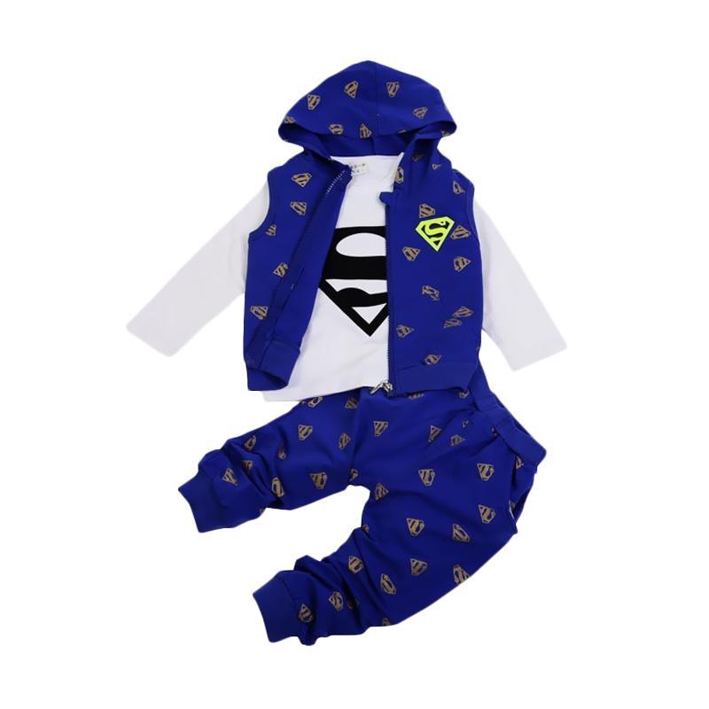 Chloebaby Shop 3in1 Superman Set F960 Baju Anak - Blue