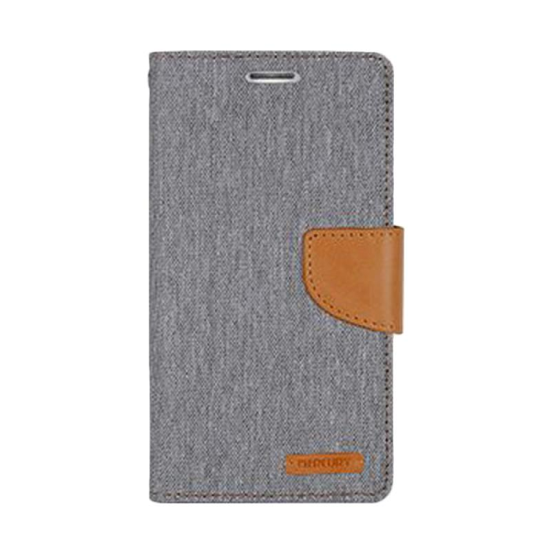 Mercury Canvas Diary Flip Cover Casing for iPhone 7 Plus 5.5 Inch - Abu-abu