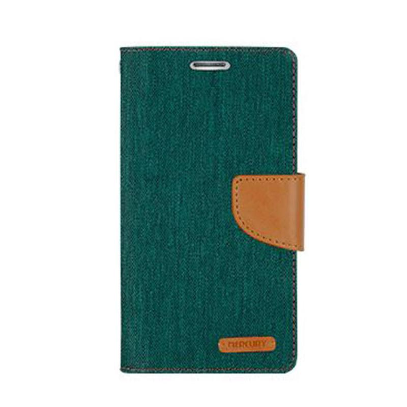 Mercury Canvas Diary Flip Cover Casing for Sony Xperia M - Hijau