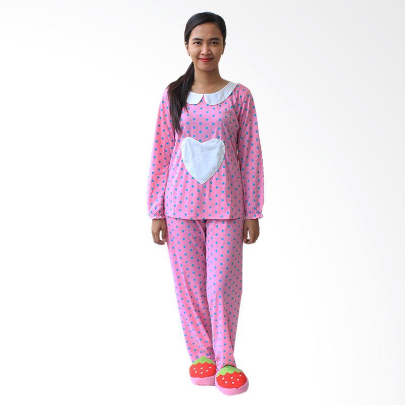 Aily 42 Setelan Baju Tidur Wanita Lengan Panjang - Pink