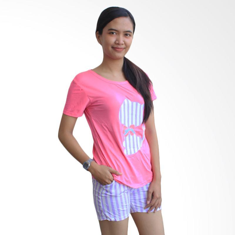 Aily 59 Setelan Baju Tidur Celana Pendek Wanita - Pink