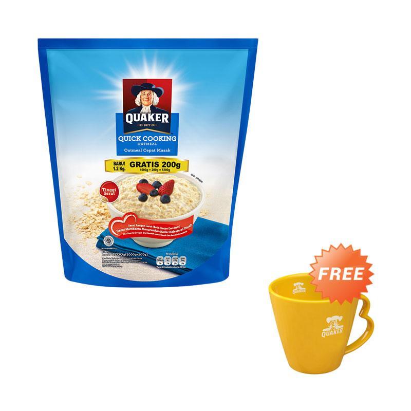 harga Groceries - Quaker Quick Cooking Oatmeal Cereal [1000 + 200 g] + Free Mug Blibli.com