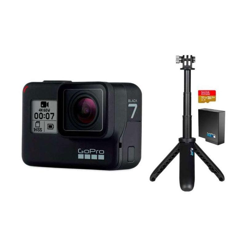 GoPro HERO7 Black Holiday Action Cam Set Bundle 2019 BLACK