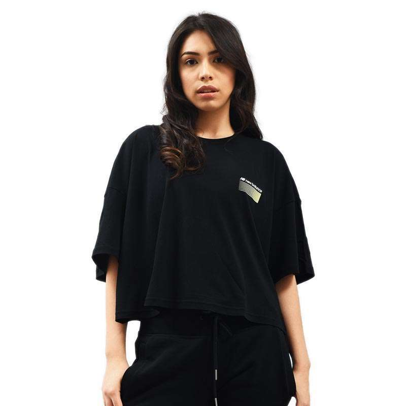 New Balance Sport Style Optiks Short Sleeve Boxy Women s Tee Pakaian Lari Wanita