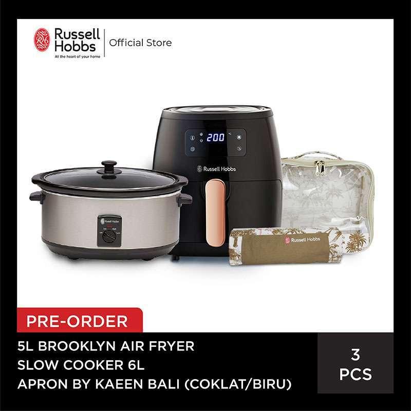 PRE ORDER Bundling Russell Hobbs Brooklyn Airfryer 5L Slow Cooker 6L Set Apron Kaeen Bali Coklat